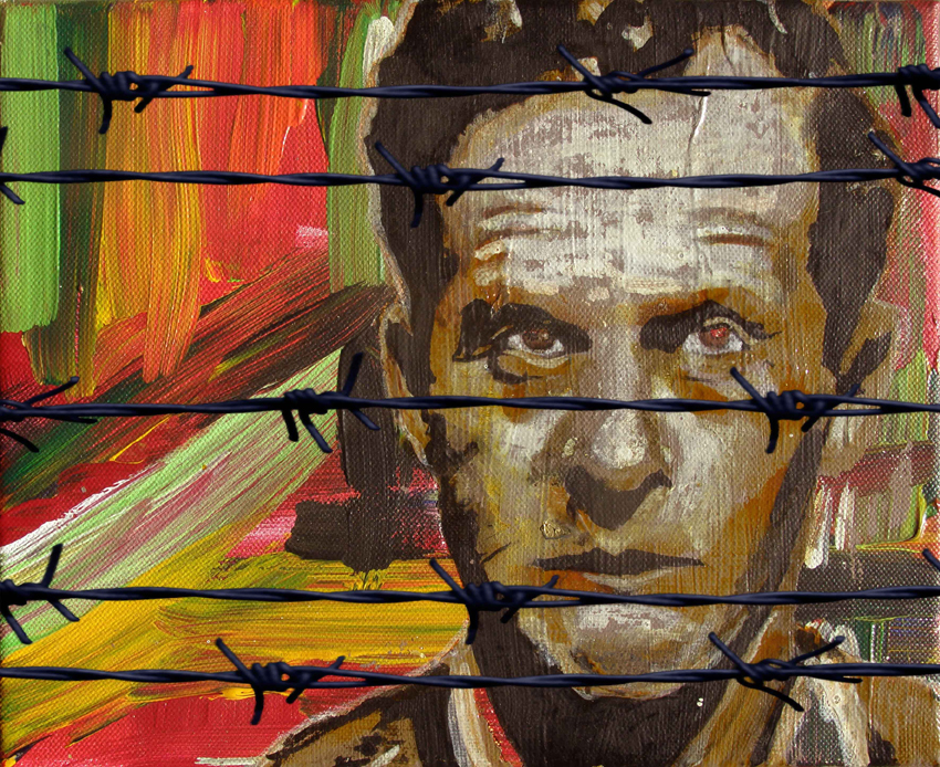"""L.W.N.P""/ Wittgenstein / Acrylics on canvas and digital print /24X30 cm"